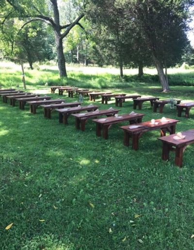rustic benches ceremony seating